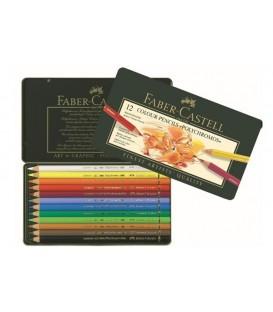 a) Astuccio metallo 12 matite Polychromos Faber-Castell