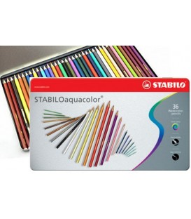 c) Boite metal 36 crayons aquarellables STABILO Aquacolor