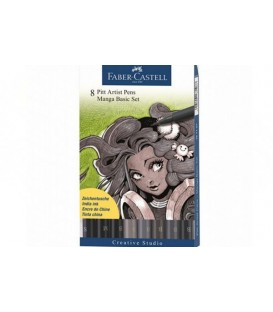 Set 8 rotuladores Manga PITT Sombras Negro y Gris Faber Castell
