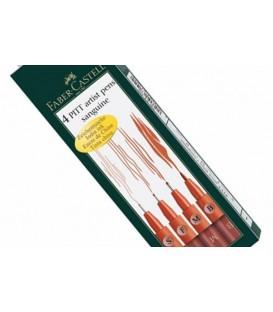 PITT Sanguine Faber Castell 4 Marker Pens Set