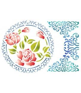 Plantilles - Stencils 21x29,7 Lace with rose KSG189