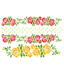 Plantillas - Stencils 21x29,7 Bordure with roses and dots KSG231