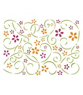 Plantilles - Stencils 15x20 Volutes and flowers KSD107