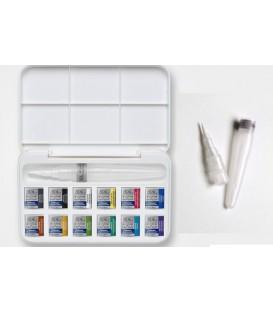 Caixa aquarel.la plastic Cotman pinzell reomplible 12 past.