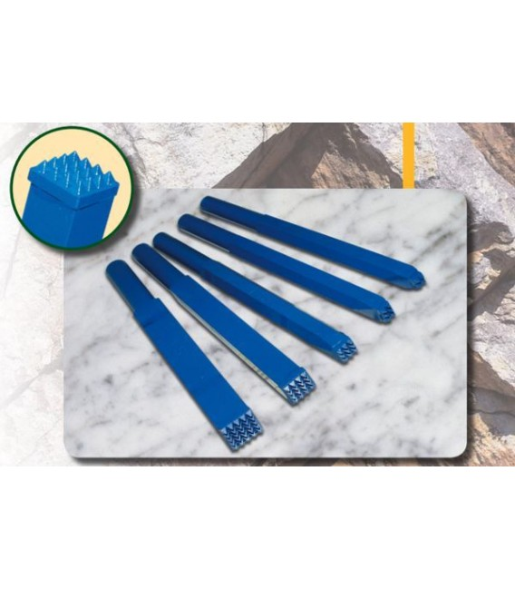 d) Carbide bush chisel 8x4 mm. 3x2 t.