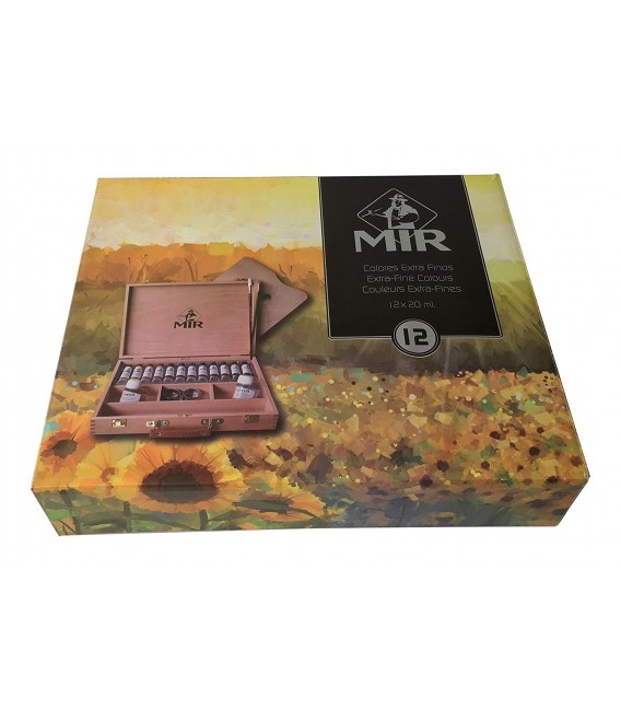 Caja madera pintura oleo Mir Academia