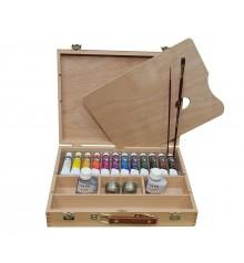 Caixa madeira tinta acrilica Mir Academia n. 4 VII 12 tub