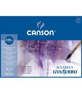 Bloc Papel GVARRO Acuarela 12 h 240gr Grano Medio 24X32