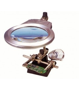 Magnifying Lens Robot with 2 LED 2 clips 9 cm ø 2x and 6x power