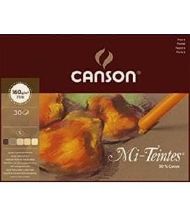 01) Bloc Paper Canson Mi-Teintes Terres 30f 160g 24x32 cm