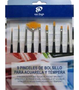 Set 8 pinceis sinteticos + punçao Van Gogh