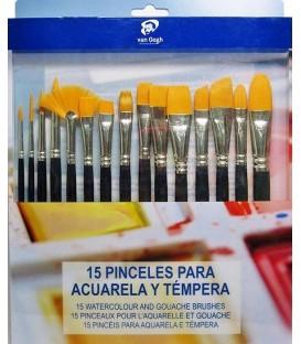 Set 15 pinceles sinteticos Van Gogh
