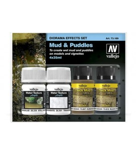 Set Mud & Puddles Diorama Effects Vallejo 4u. 2x35 ml/2x40 ml.