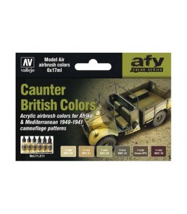 Set Vallejo Model Air 6 u. (17 ml.) Caunter British Colors