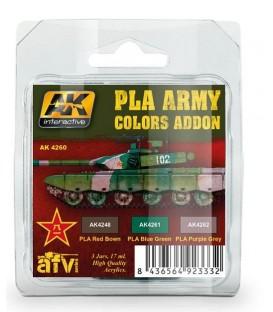 AK4260 PLA Army Colors Addon set 3 u. 17 ml.