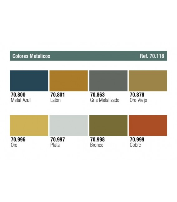 Set Vallejo Model Color 8 u. (17 ml.) Metallic Colors