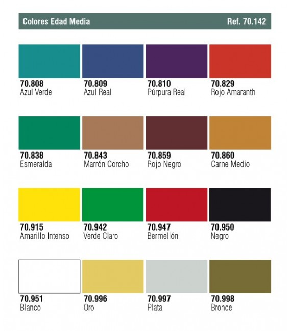 Set Vallejo Model Color 16 u. (17 ml.) Colors Medievals