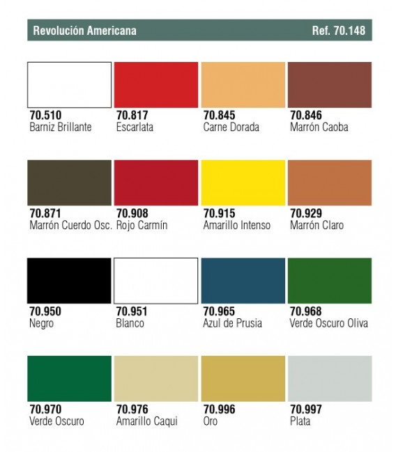 Set Vallejo Model Color 16 u. (17 ml.) Revolucion Americana