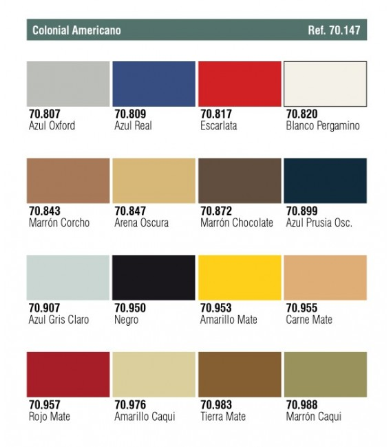 Set Vallejo Model Color 16 u. (17 ml.) Colonial Americano