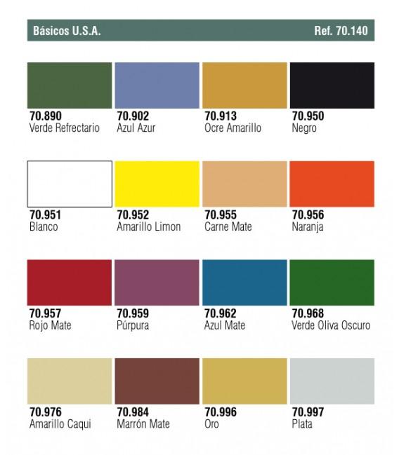 Set Vallejo Model Color 16 u. (17 ml.) Basic Colors U.S.A.