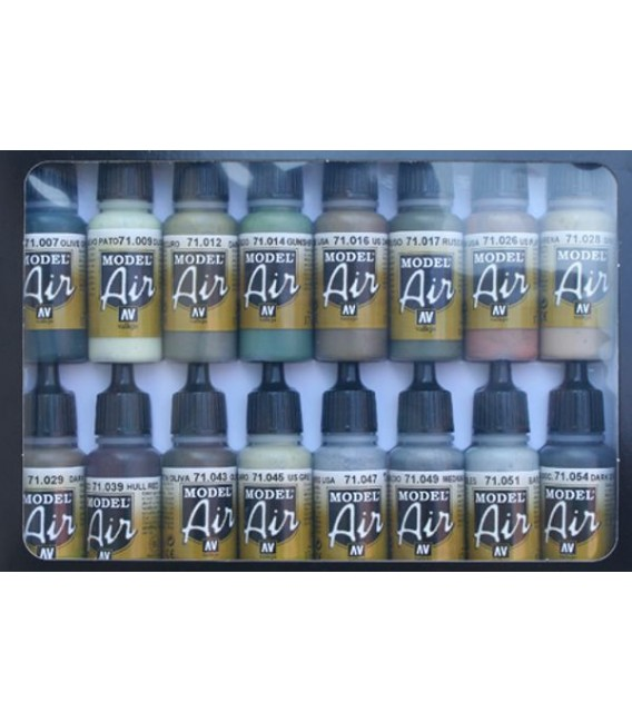 Set Vallejo Model Air 16 u. (17 ml.) WWII Allied Colors.