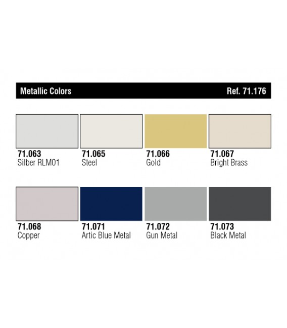 Set Vallejo Model Air 8 u. (17 ml.) Metallics Colors