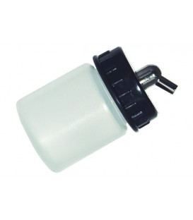 f) Godet en plastique translucide 22 cc pour aerographe (DP01).