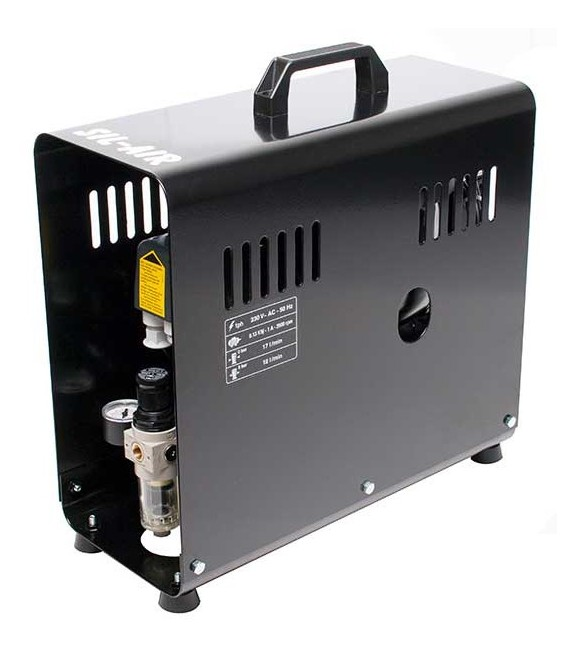 e) Compressore automatico per aerografo SIL-AIR 30 D