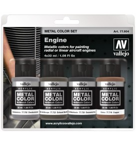 77604 Set Vallejo Metal Color 4 u. (32 ml.) Engine