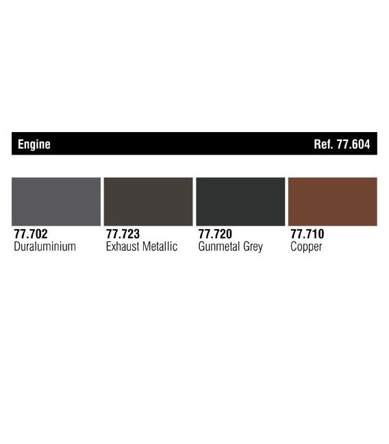 77604 Set Vallejo Metal Color 4 u. (32 ml.) Engine