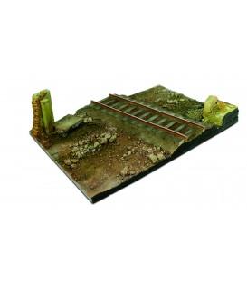 SC104 Country road cross & railway Scenics Diorama Bases 31x21