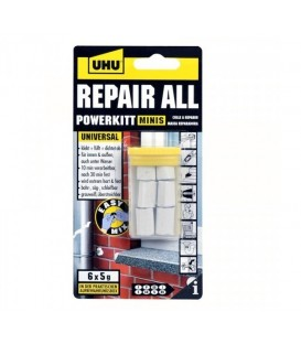 2 Component Knead UHU REPAIR ALL Powerkitt Minis 6 X 5 grs.