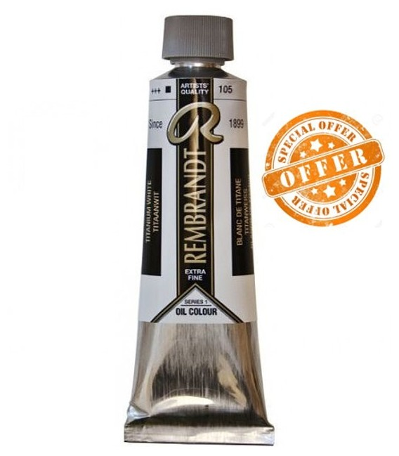 0001) OFFER 105 Titanium white oil Rembrandt 150 ml.