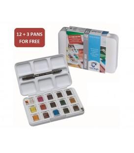 Water color plastic set Van Gogh pocket box 15 pans
