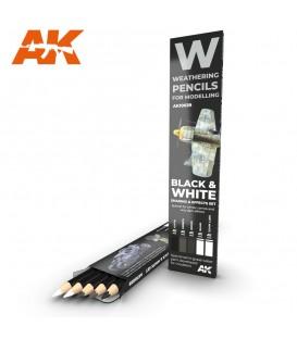 AK10039 Set 5 llapis weathering Negre i Blanc
